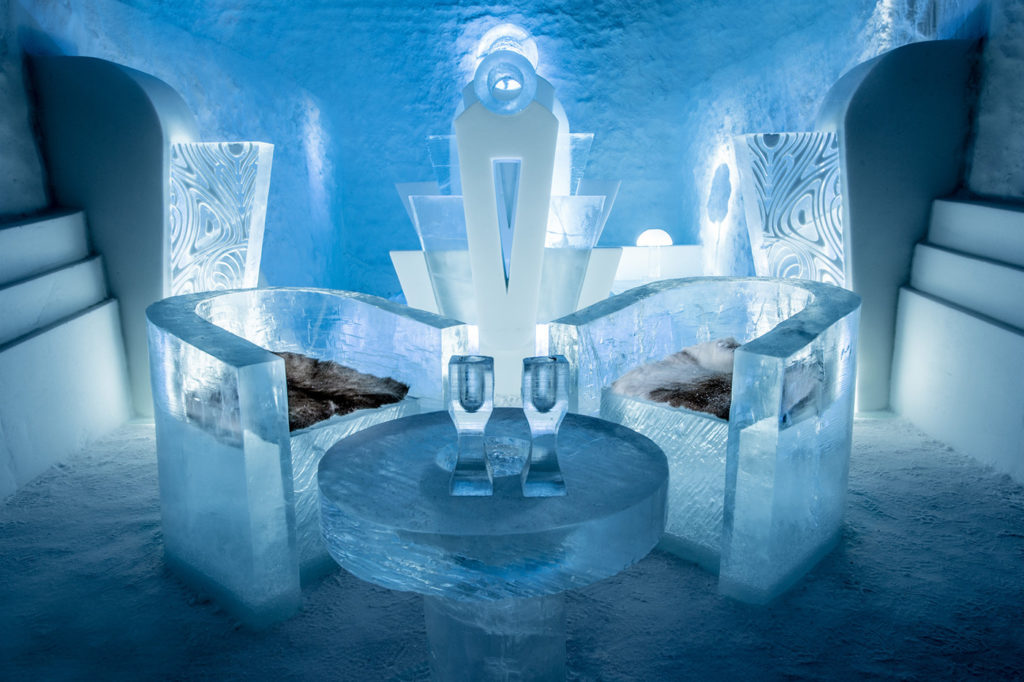 Ice Hotel Sweden Chairs and Table