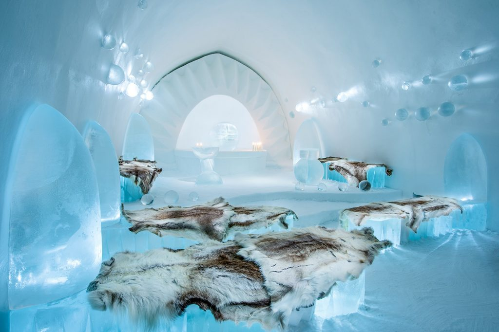 Ice Hotel Sweden Beds With Furs
